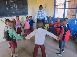 AVC Volunteer Saad Urassa with his students at UWAWAYAKI