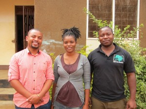 At a site visit to Salama Center in Moshi From left: AVC Founding Director Jafari Msaki, AVC Volunteer Ester Kimath, and AVC Program Officer Daniel John